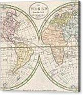 1798 Payne Map Of The World  Acrylic Print