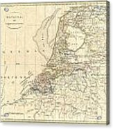 1799 Clement Cruttwell Map Of Holland Or The Netherlands Acrylic Print