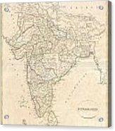 1799 Clement Crutwell Map Of Hindoostan Acrylic Print