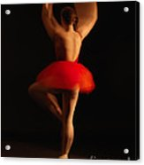 Ballet Dancer In Red Tutu Acrylic Print