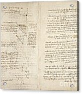 Notes By Leonardo Da Vinci, Codex Arundel Acrylic Print
