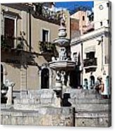 Another View Of An Old Unused Fountain In Taormina Sicily Acrylic Print