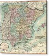 1801 Cary Map Of Spain And Portugal Acrylic Print