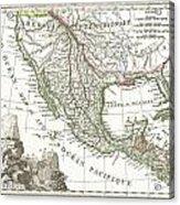 1810 Tardieu Map Of Mexico Texas And California Acrylic Print