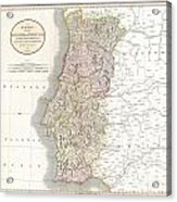 1811 Cary Map Of The Kingdom Of Portugal Acrylic Print