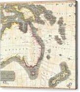 1814 Thomson Map Of Australia New Zealand And New Guinea Acrylic Print