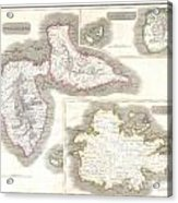 1815 Thomson Map Of Guadaloupe Antigua Marie Galante  West Indies Acrylic Print