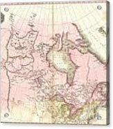 1818 Pinkerton Map Of British North America Or Canada Acrylic Print