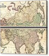 1820 Lizars Wall Map Of Asia Acrylic Print