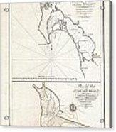 1825 Victoria Map Of San Diego California And San Blas Mexico  Acrylic Print