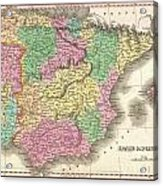 1827 Finely Map Of Spain And Portugal Acrylic Print