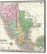 1827 Finley Map Of Mexico Upper California And Texas Acrylic Print