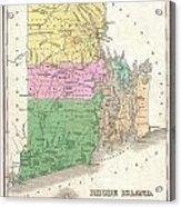1827 Finley Map Of Rhode Island Acrylic Print