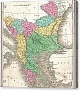 1827 Finley Map Of Turkey In Europe Greece And The Balkans Acrylic Print