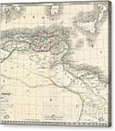 1829 Lapie Historical Map Of The Barbary Coast In Ancient Roman Times Acrylic Print