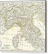 1832 Delamarche Map Of Northern Italy And Corsica Acrylic Print