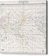 1832 Malte Brun Map Of The World On Mercator Projection Acrylic Print