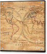 1833 School Girl Manuscript Wall Map Of The World On Hemisphere Projection  Acrylic Print