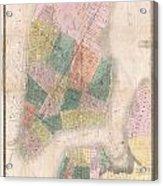 1835 David Burr Map Of New York City Acrylic Print