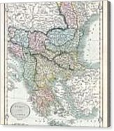 1836 Cary Map Of Greece And The Balkans Acrylic Print