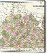 1838 Bradford Map Of Virginia Acrylic Print
