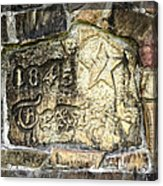 1845 Republic Of Texas - Carved In Stone Acrylic Print