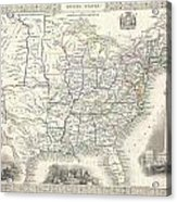 1851 Tallis And Rapkin Map Of The United States Acrylic Print