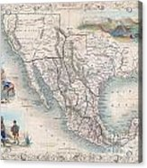 1851 Tallis Map Of Mexico Texas And California  Acrylic Print