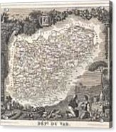 1852 Levasseur Map Of The Department Du Var France  French Riviera Acrylic Print