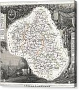 1852 Levasseur Map Of The Department L Aveyron France Roquefort Cheese Region Acrylic Print