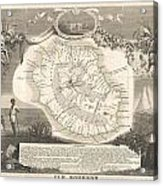 1852 Levasseur Map Of The Reunion Or The Ile Bourbon Indian Ocean Acrylic Print