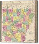 1853 Mitchell Map Of Arkansas Acrylic Print