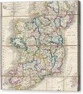 1853 Wyld Pocket Or Case Map Of Ireland Acrylic Print