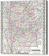 1855 Colton Map Of Alabama Acrylic Print