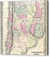 1855 Colton Map Of Argentina Chile Paraguay And Uruguay Acrylic Print