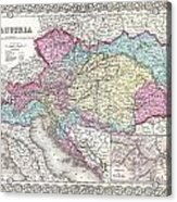 1855 Colton Map Of Austria Hungary And The Czech Republic Acrylic Print