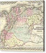 1855 Colton Map Of Columbia Venezuela And Ecuador Acrylic Print