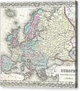 1855 Colton Map Of Europe Acrylic Print