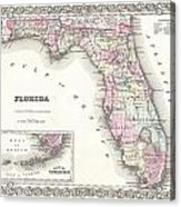 1855 Colton Map Of Florida Acrylic Print