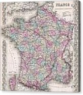 1855 Colton Map Of France Acrylic Print