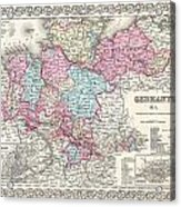 1855 Colton Map Of Hanover And Holstein Germany Acrylic Print