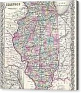 1855 Colton Map Of Illinois Acrylic Print
