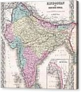 1855 Colton Map Of India Acrylic Print