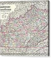 1855 Colton Map Of Kentucky And Tennessee Acrylic Print