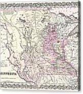 1855 Colton Map Of Minnesota Acrylic Print