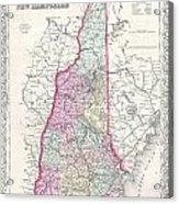1855 Colton Map Of New Hampshire Acrylic Print