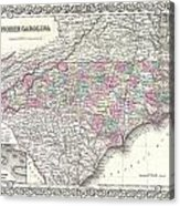1855 Colton Map Of North Carolina Acrylic Print