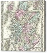 1855 Colton Map Of Scotland Acrylic Print