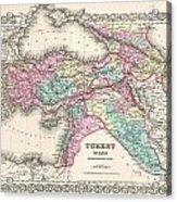 1855 Colton Map Of Turkey Iraq And Syria Acrylic Print