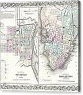 1855 Colton Plan Or Map Of Charleston South Carolina And Savannah Georgia Acrylic Print